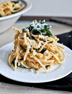 Sweet Potato Cream Pasta with Crispy Kale