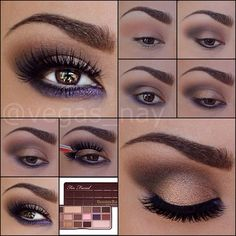 Love this Beauty HOW TO from vegas_nay featuring Too Faced The Chocolate Bar Eye Palette! Love this Beauty HOW TO from vegas_nay featuring Too Faced The Chocolate Bar Eye Palette! Make Up Palette, Eye Palette, Eyeshadow Palette, All Things Beauty, Beauty Make Up, Maquillage Too Faced, Love Makeup, Makeup Looks, Purple Makeup