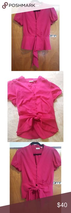Eva Mendes Pink Button Down Blouse Top M Mint condition ..ties up for a cute decor in the front Eva mendes Tops Button Down Shirts