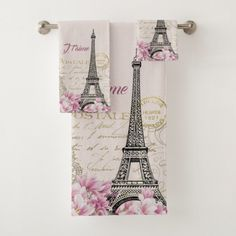 Vintage pink Paris Eiffel Tower romantic collage Bath Towel Set – Give your bathroom a makeover. Find the right towel set for you. - Home Decor Paris Bathroom Decor, Paris Decor, Bathroom Ideas, Bathroom Remodeling, Bathroom Hacks, Bathroom Stuff, Bathroom Inspo, Bath Ideas, Romantic Bath
