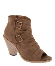 Take a look at the Pecan Ruched Peep-Toe Bootie on #zulily today!