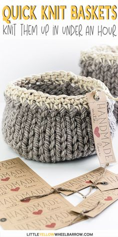 Pretty DIY project baskets you can knit up quick and easy. This simple craft project requires a single skein of yarn and requires only basic knitting stitches and a little bit of single crochet. Perfect knitting for beginners project. Knit up a…Read Loom Knitting Projects, Yarn Projects, Knitting Stitches, Knitting Patterns Free, Free Knitting, Sewing Projects, Free Pattern, Knitting For Beginners Projects, Round Loom Knitting