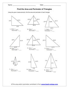 Area And Perimeter Of Triangles Worksheets – Worksheets Samples Area And Perimeter Worksheets, Area Worksheets, Geometry Worksheets, Kids Math Worksheets, Math Resources, Perimeter Of Triangle, Finding Area, Triangle Worksheet, Maths Area