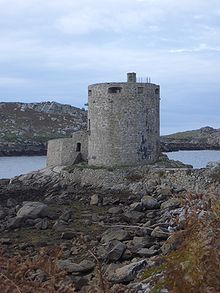 Cromwell's Castle is on the island of Tresco in the Isles of Scilly. It is a coastal Gun Tower built by Oliver Cromwell in 1651-1652 as a replacement for King Charles's Castle.
