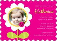 Lucky Daisy - Birthday Party Invitations in Fuchsia | Nancy Kubo