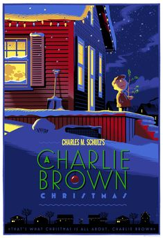 "These prints at Dark Mansion are BEAUTIFUL.  ""A Charlie Brown Christmas"" Artist: Laurent Durieux                                          (Select Wood Edition)"