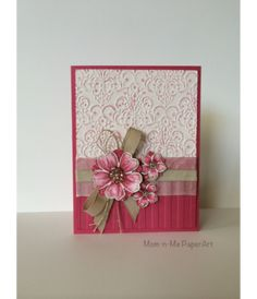 Mother�s Day Flowers SU Lacy Brocade and Stripes embossing folders Petite Petals punch and stamp set