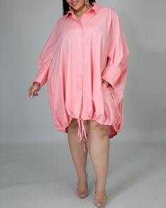 US$ 36.9 - Drawstring Slouchy Shirt Dress - m.wokeep.com Slouchy Shirt, Fall Outfits For Teen Girls, Dress Brands, Rain Jacket, Windbreaker, Cover Up, Dressing, Cute Outfits, Shirt Dress