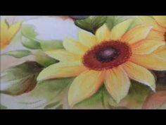 Pintura em Tecido. Aprenda pintar Girassol e folhas. - YouTube