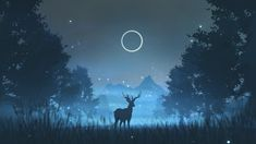 HD wallpaper: Deer and the Fireflies, tree, plant, animal themes, animal wildlife Desktop Wallpaper 1920x1080, Deer Wallpaper, Wildlife Wallpaper, Aesthetic Desktop Wallpaper, Anime Scenery Wallpaper, Computer Wallpaper, Animal Wallpaper, Galaxy Wallpaper, Cute Wallpapers
