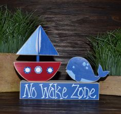 No Wake Zone Nautical Decor Block Set Nautical by BlocksOfLove1, $13.99