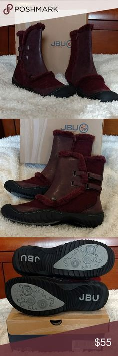 NIB Jambu Ice Burg Boots Beautiful burgundy side zip ankle boots  NEW in box. Fuzzy warm interior throughout. Great sole for traction. Jambu Shoes