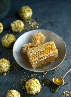 Goats cheese truffles with honey & pistachio. Some things are meant for each other.