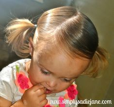 CUTE PigTails for little girls ... FROM:  Simply Sadie Jane – 22 MORE fun and creative TODDLER HAIRSTYLES!!