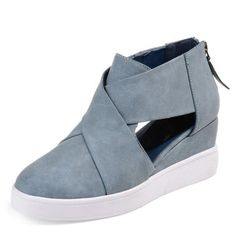 98704203156 Criss-cross Cut-out Wedge Sneakers Plus Size Wedge Heel Shoes with Zipper  Wedge