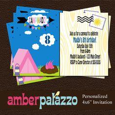 Campout Birthday Invitation - Printable - Personalized via Etsy