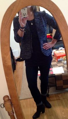 #cabi Mingle Jacket over the Fifth Ave Tee with Ink Ruby Jean