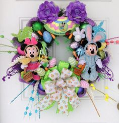 Easter Wreath Disney Mickey and Minnie by SparkleForYourCastle,