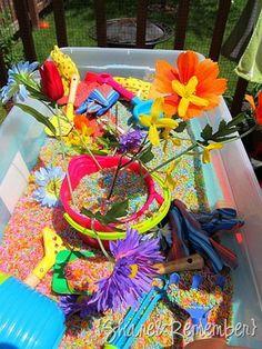 colored rice sandbox <3