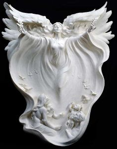 Angel sculpture by Gaylord Ho, marble? Love his breathtaking art. Nice design for a Full Back Tattoo.....