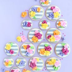 These striped fondant + floral cookies are seriously so easy, yet stunning. A great start for a cookie rookie!