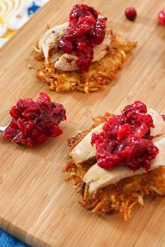 Potato Latkes Topped with Turkey and Cranberry Chutney