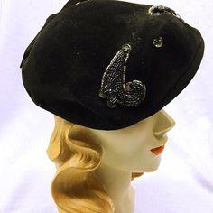 2e55d93bb902 Vintage 1950s Black Velvet Beret Hat . 50s Beaded by bonitalouise 1950s  Hats, Beaded Trim