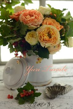 Floral Arrangement ~ peach and yellow
