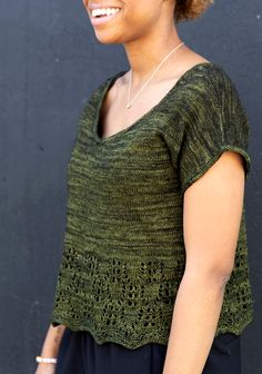 ISSUEss20 ** Green Machine : Knitty.com - Spring + Summer 2020 Crochet Summer Tops, Summer Knitting, Crochet Top, Knitting Patterns Free, Knit Patterns, Free Knitting, Knitting Magazine, Bind Off, Knit Wrap