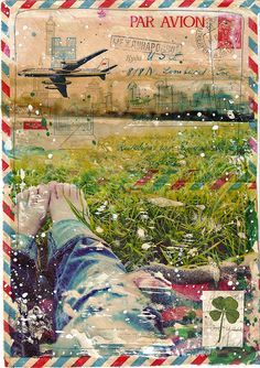 Picnic; blanket and lush grass; bare feet, rolled up jeans; vintage envelope; luck.  Art by Mae Chevrette.