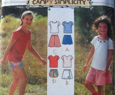 SIMPLICITY sewing Pattern 7165 - SZ 3,4,5,6 Blouse, Skirt, Shorts