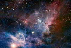 A sublime image of the Carina Nebula taken by the VLT (Very Large Telescope) of ESO in the infrared. The nebula is 7500 light years from us in the direction of the constellation Carina in the southern hemisphere. It is a nebula of gas and dust where new stars form, especially type O blue massive stars and A. It contains the famous star Eta Carinae hypergiant which is a hundred times more massive than the sun.