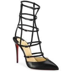 Christian Louboutin Kadreyana 100 Leather Cage Point-Toe Pumps (1 445 AUD) ❤ liked on Polyvore featuring shoes, pumps, apparel & accessories, pointy toe ankle strap pumps, leather pumps, cage shoes, genuine leather shoes and pointed toe ankle strap pumps