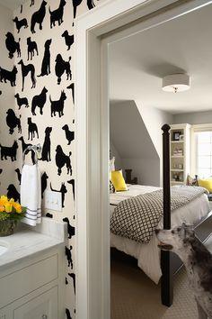 black & white bedroom with splashes of yellow | martha o'hara interiors