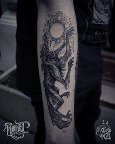 Sun Eater  dude brings the apocalypse! by Mark Pinter (@ _sketchfield_) #wolf #wolftattoo #tattoo #budapesttattoo #alchemy #dark #viking #sketchfield #rookletink