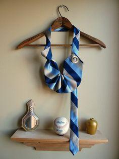 NEW necklace . vintage silk tie . nouveau jabot in blue and gold stripes necktie . le Paris. $65.00, via Etsy.