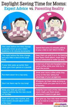 Daylight Saving Time for Moms: Expert Advice vs. Reality