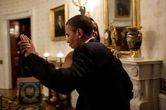 Barack Obama dances with first lady Michelle in the Blue Room of the White House prior to an 'In Performance at the White House' series concert honoring songwriters Burt Bacharach and Hal David.