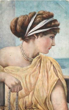 """Daydreams"" postcard, by Henry Ryland ~ 1910."