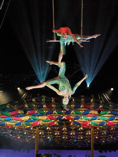 cirque de soleil...these people are like 40 feet off the ground hanging like this with no safey wires....It is amazing!!!