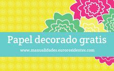 Papel decorado con flores para descargar gratis: http://manualidades.euroresidentes.com/2013/04/papel-decorado-con-flores.html