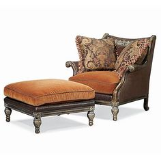 Great chair and ottoman for a library