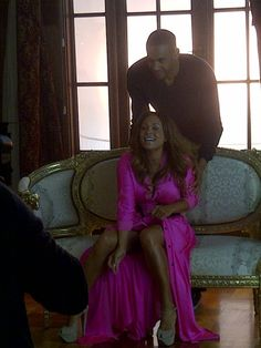 Tamia and Grant Hill---What a beautiful dress, love the color and the style!
