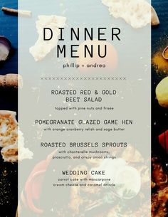 Food Photo Overlay Dinner Party Menu