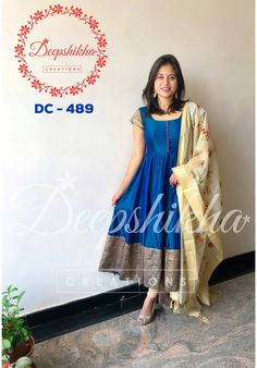 DC - 489. Beautiful blue and cream color combination floor length anarkali dress with cream color dupatta. For queries kindly WhatsApp : +91 9059683293
