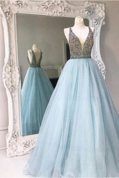 Light Blue Backless A line Evening Prom Dresses, Sexy Deep V neckline – SposaDesses