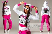 Hoodie + pantolon 2015 sonbahar kadın bayan uzun kollu Minnie baskı sweatshirt seti hırka spor takım elbise eşofman hoodie giyim(China (Mainland))