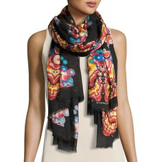 Givenchy Silk-Blend Kaleidoscope Scarf ($740) ❤ liked on Polyvore featuring accessories, scarves, accessories scarves, black pattern, givenchy, patterned scarves, givenchy scarves, lightweight scarves and print scarves