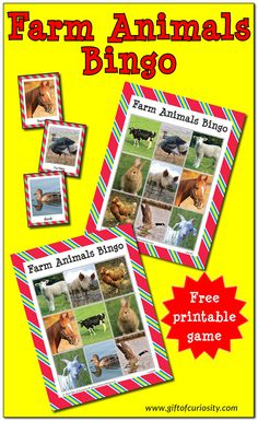 Free printable Farm Animals Bingo Game for young children to learn 10 different farm animals. Just print and play for learning and fun! Farm Activities, Printable Activities For Kids, Animal Activities, Free Preschool, Kindergarten Activities, Toddler Activities, Preschool Activities, Printable Animals, Preschool Farm