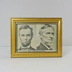 Vintage Civil War Presidents Framed 7 x 5 Postcard - PC114 - Vintage Civil War Presidents Framed 7 x 5 Postcard. Abraham Lincoln and Jefferson Davis - FOR SALE at www.ClaudiasBargains.com